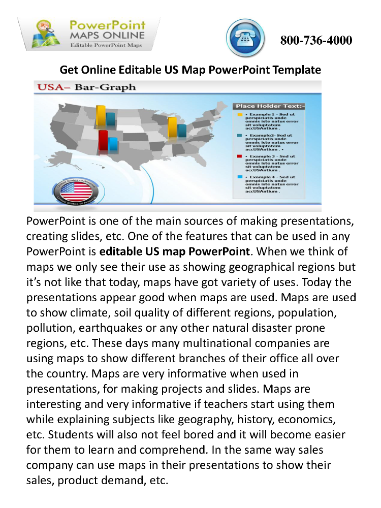 get online editable us map powerpoint template |authorstream, Modern powerpoint