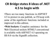 CR Bridge states 8 ideas of .NET 4.5 to begin with