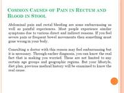 Common Causes of Pain in Rectum and Blood in Stool