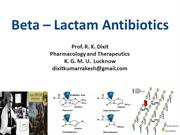 Beta - Lactam Antibiotics 10th December 2013