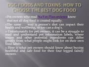 Dog Foods and Toxins ;How To Choose The Best Dog Food