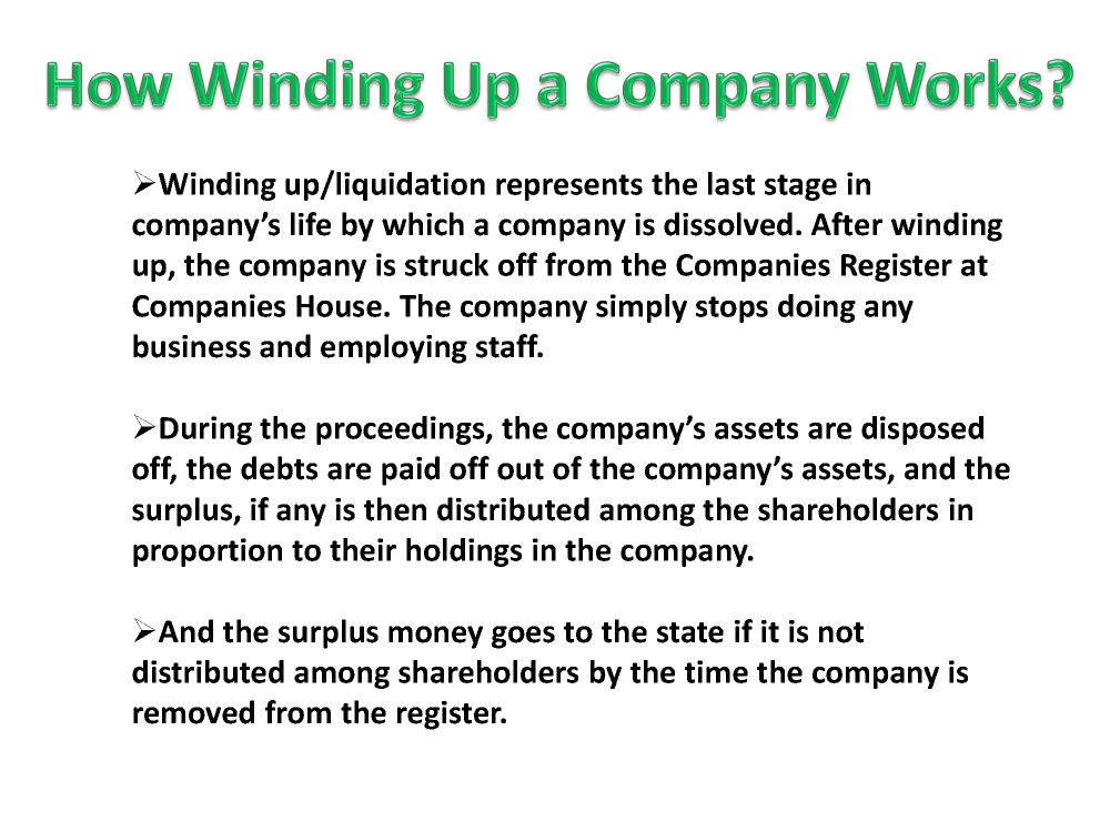 Liquidating a company with no assets to pay