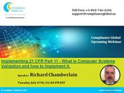 Implementing 21 CFR Part 11 - What is Computer Systems Validation