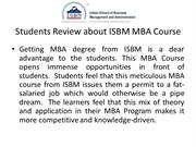 Students Review about ISBM MBA Course