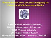 Women Related Issues and Gender Budgeting in ULBs  14-7-2015