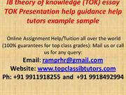 IB theory of knowledge (TOK) essay