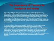 The importance of IT service for workplace and homes