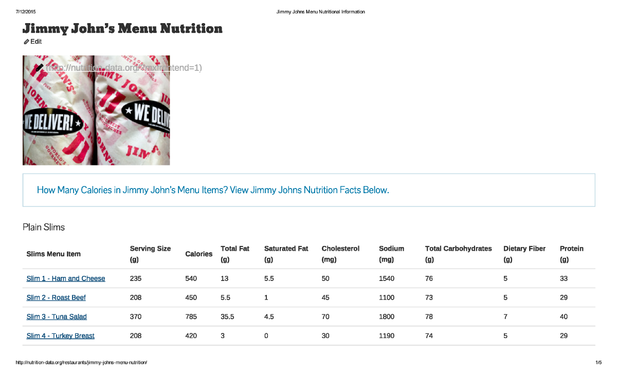 Jimmy Johns Nutrition Facts Calories Menu | Lobster House