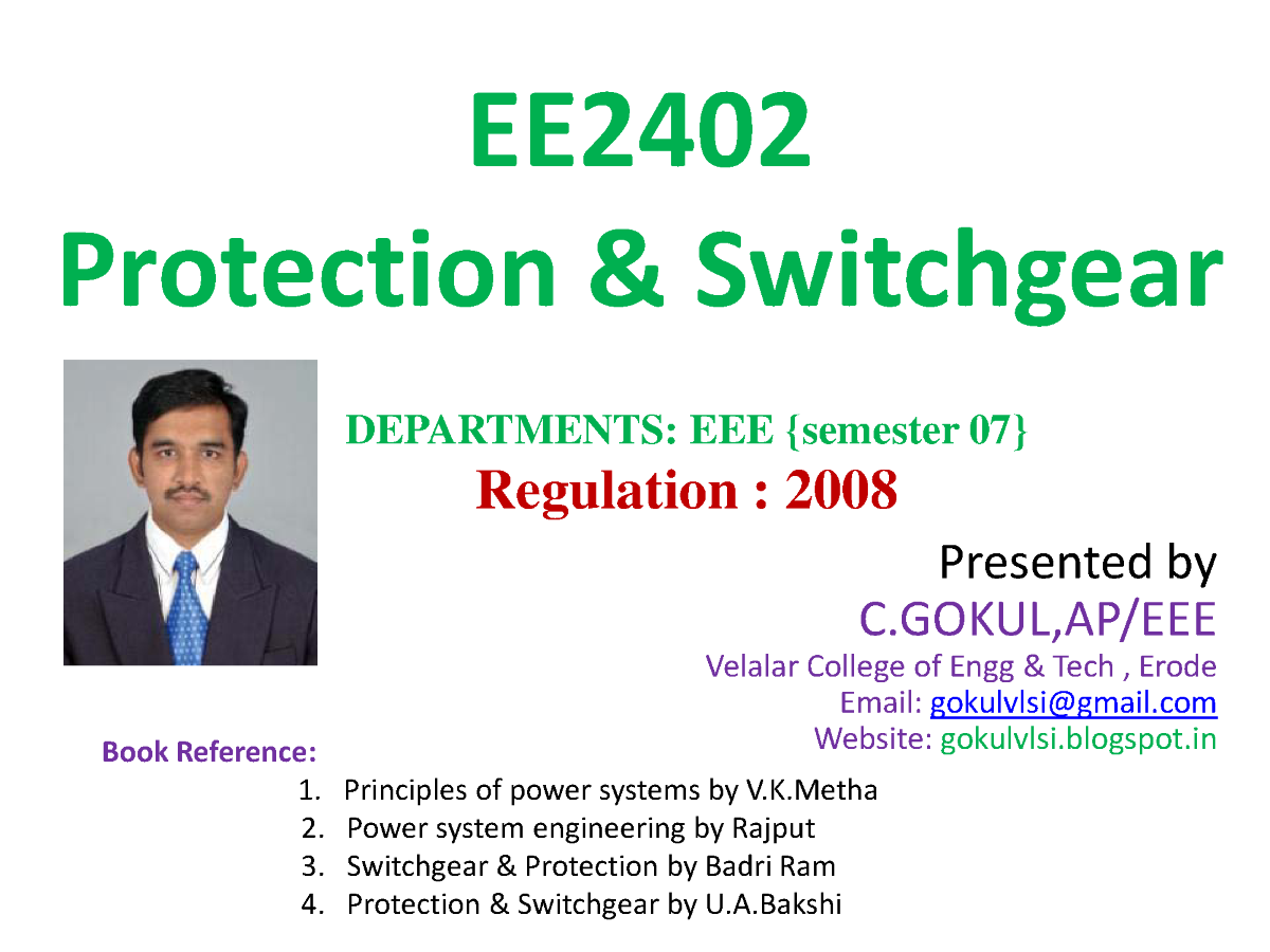 Protection And Switchgear Lecture Notes AuthorSTREAM - Neutral displacement relay working principle