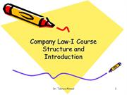 Company Law-I,  Course Structure and Introduction of Company Law