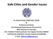 Safe Cities & Gender Issues  14-7-2015
