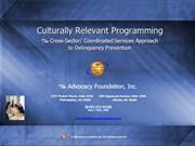 Culturally Relevant Programming - Cross Sector - Coordinated Services