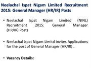 Neelachal Ispat Nigam Limited Recruitment  2015: General Manager