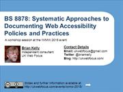 BS8878: Documenting Web Accessibility Policies & Practices