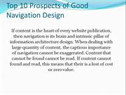 Top 10 Prospects of Good Navigation Design