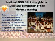 National NGO felicitates girls on successful completion of self defens
