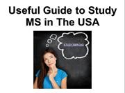 Useful Guide to Study MS in The USA