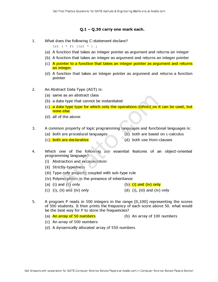 Get Free Questions for GATE Aptitude & Engineering Maths