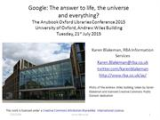 Google: the answer to life, the universe and everything?