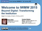 Welcome to IWMW 2015