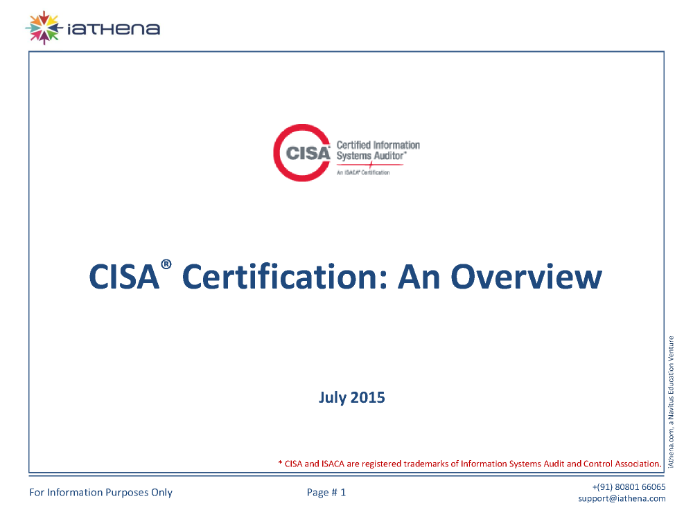 Cisa Certification An Overview Authorstream