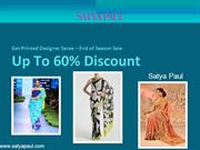 Printed designer saree up to 60% discount -satyapaul