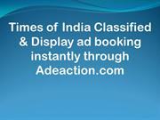 Book Newspaper Classified Text & Display Ads in Times of India