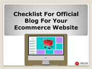 Checklist for official Blog for your Ecommerce Website