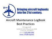 Aircraft Maintenance LogBook Best Practices