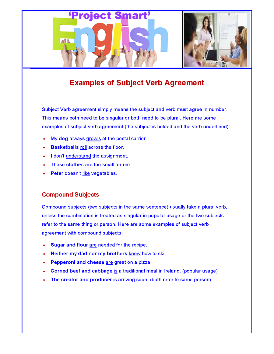 Subject Verb Agreement Examples Authorstream