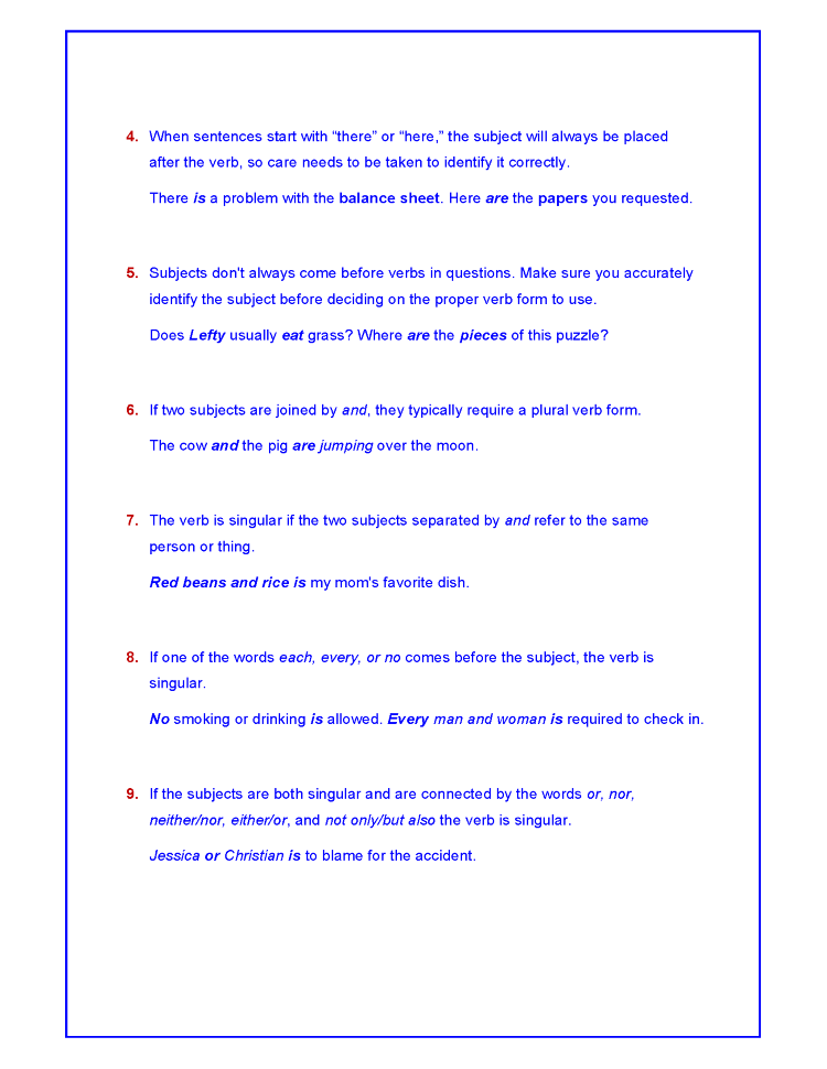 20 Rules Of Subject Verb Agreement Authorstream