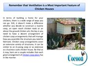 Remember that Ventilation is Feature of Chicken Houses