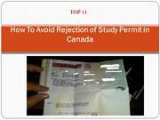 How To Avoid Rejection of Study Permit in Canada