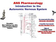 IVMS-ANS Pharmacology -Intro to the Auto