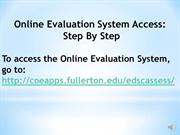 Online Evaluation System Power Point