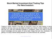 Stock Market Investment & Trading Tips for new investors