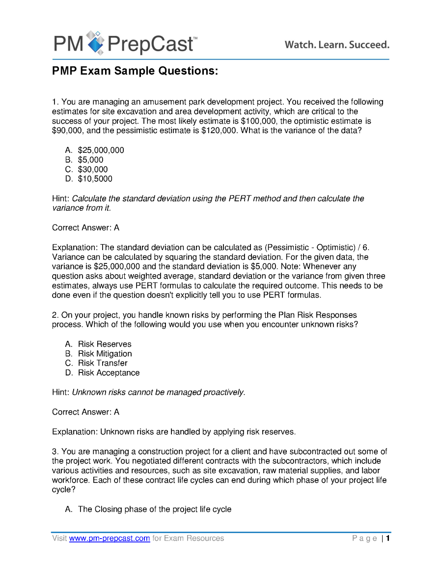Pmp Exam Sample Questions Authorstream Get A Small Business Loan How To  Calculate The Standard Deviation
