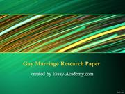 Gay Marriage Research Paper