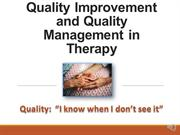 F15 Unit 6 Quality Care.Quality Management in Therapy records
