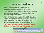 Introduction to the online format of this class (LISTEN IN PRESENTATIO