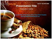 Cup Of Coffee With Espresso Beans Powerpoint Template
