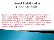 Good Habits of a Good student