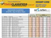 Advertisement Rate Card for Times Of India by Adeaction Media 2015-16.