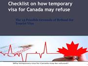 Checklist on how temporary visa for Canada may refuse