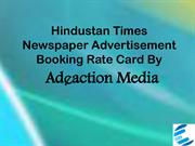 Hindustan Times Newspaper Advertisement Booking Rate Card 2015