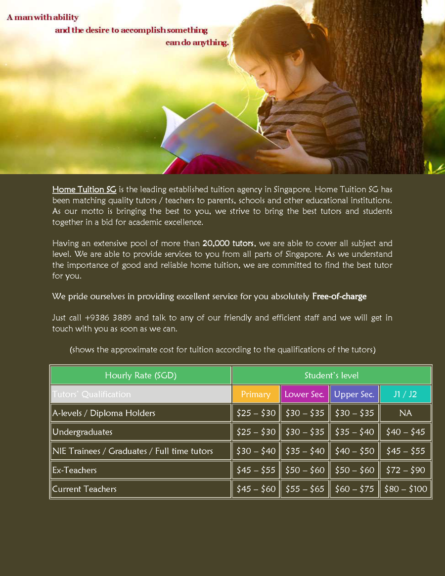 private tuition in singapore We are a home tuition agency providing your ideal home tutor in singapore quality private tuition for primary, secondary, ip, ib, jc and poly students.
