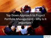 Top Down Approach to Project Portfolio Management - Why Is It Importan