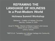 Reframing the Language of Holiness