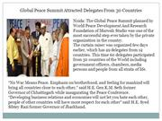 Global Peace Summit Attracted Delegates From 30 Countries