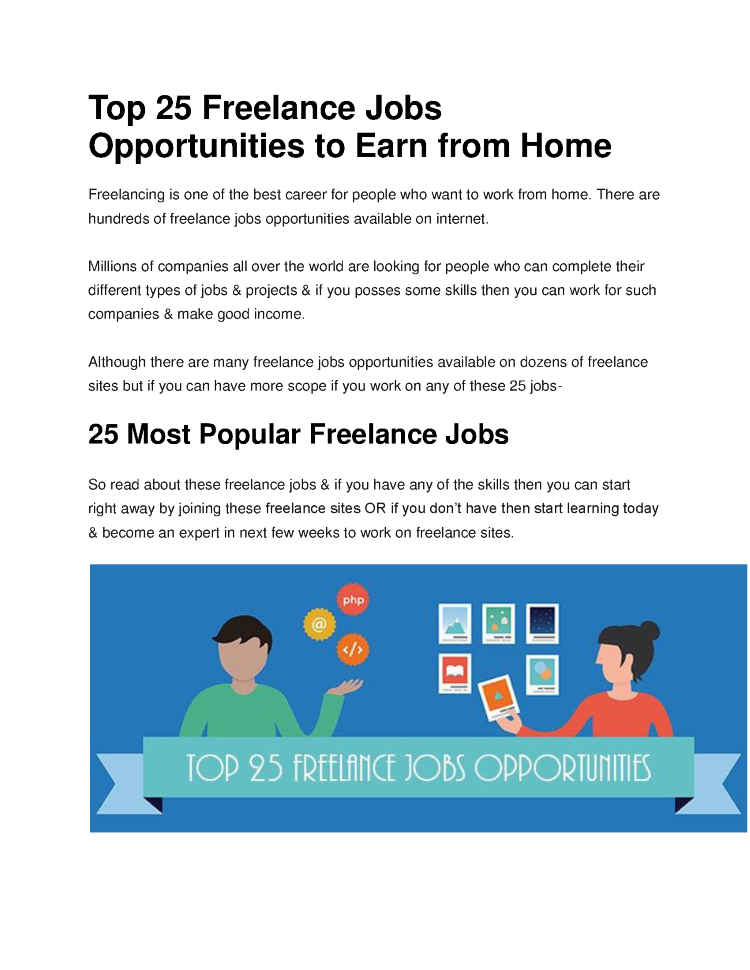 Best 25 Home Depot Behr Paint Ideas On Pinterest: Top 25 Freelance Jobs Opportunities To Earn From Home